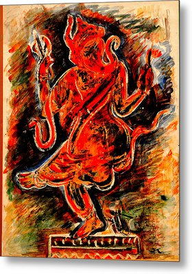 Metal Print featuring the painting Ganesh- 6 by Anand Swaroop Manchiraju