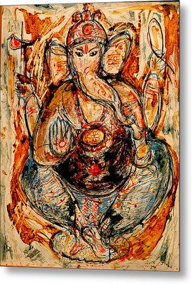 Metal Print featuring the painting Ganesh- 7 by Anand Swaroop Manchiraju