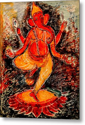 Metal Print featuring the painting Ganesh- 8 by Anand Swaroop Manchiraju