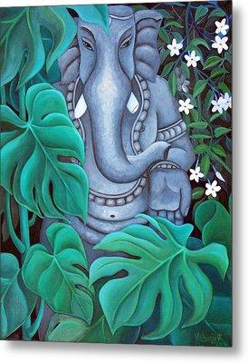 Ganesh With Jasmine Flowers 2 Metal Print by Vishwajyoti Mohrhoff