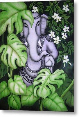 Ganesh With Jasmine Flowers Metal Print by Vishwajyoti Mohrhoff