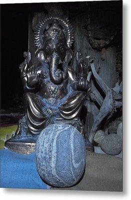Ganesha And The Rock Of The Mystic Metal Print by Agnieszka Ledwon