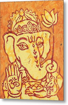 Ganesha Gold And Maroon Metal Print