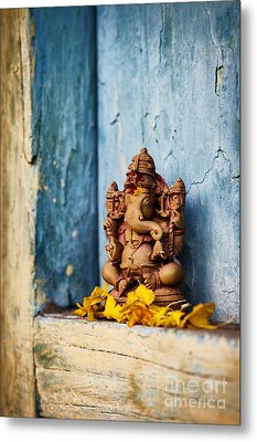 Ganesha Statue And Flower Petals Metal Print by Tim Gainey