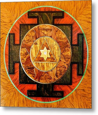 Ganesha Sacred 3d High Relief Artistically Crafted Wooden Yantra    23in X 23in Metal Print by Peter Clemens