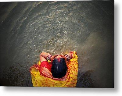 Ganges Bath Metal Print by Money Sharma