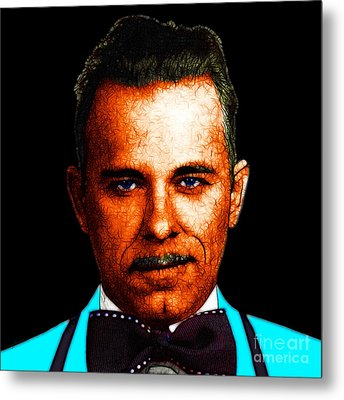 Gangman Style - John Dillinger 13225 - Black - Color Sketch Style Metal Print by Wingsdomain Art and Photography