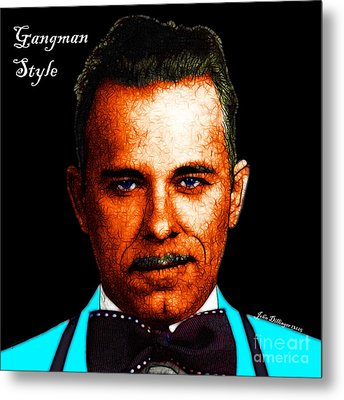 Gangman Style - John Dillinger 13225 - Black - Color Sketch Style - With Text Metal Print