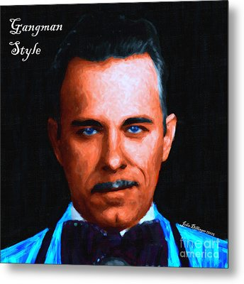Gangman Style - John Dillinger 13225 - Black - Painterly - With Text Metal Print
