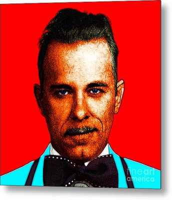 Gangman Style - John Dillinger 13225 - Red - Color Sketch Style Metal Print by Wingsdomain Art and Photography