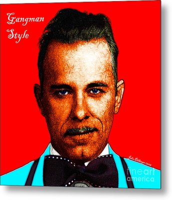 Gangman Style - John Dillinger 13225 - Red - Color Sketch Style - With Text Metal Print