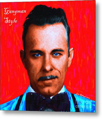 Gangman Style - John Dillinger 13225 - Red - Painterly - With Text Metal Print