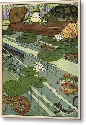 Garada Clark Riley Living Pond With Frog Turtle Lily Pads Fish Crawfish Mouse Snail Lizard Etc Metal Print by Pierpont Bay Archives