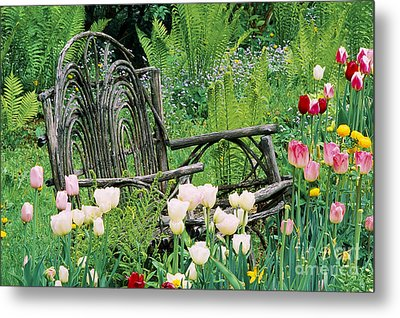 Garden Bench Metal Print by Alan L Graham