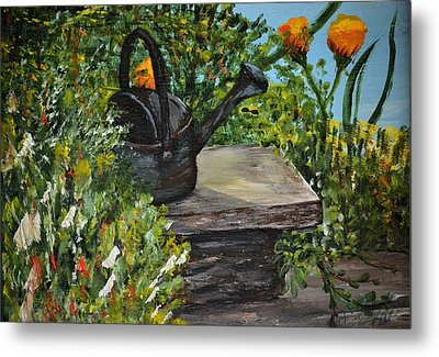 Metal Print featuring the painting Garden Bench by Debbie Baker