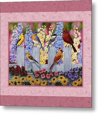 Garden Birds Duvet Cover Pink Metal Print by Crista Forest