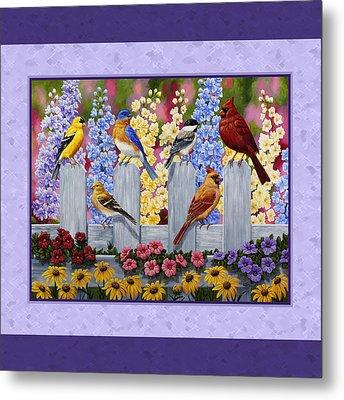 Garden Birds Duvet Cover Purple Metal Print by Crista Forest