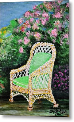 Metal Print featuring the painting Garden Chair by Debbie Baker