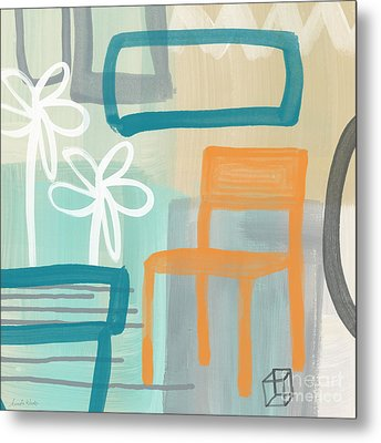 Garden Chair Metal Print by Linda Woods