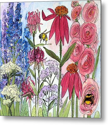 Metal Print featuring the painting Garden Flower And Bees by Laurie Rohner