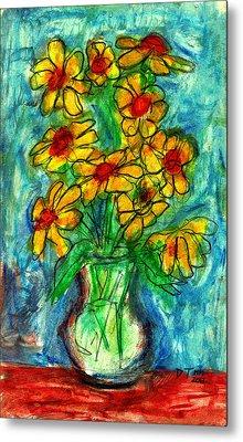Garden Flower Mono-print Metal Print by Don Thibodeaux