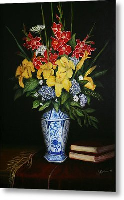 Metal Print featuring the painting Garden Flowers  by Sandra Nardone