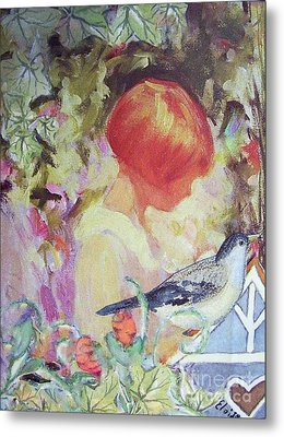 Garden Girl - Antique Collage Metal Print by Eloise Schneider