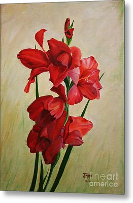 Metal Print featuring the painting Garden Gladiolas by Jimmie Bartlett