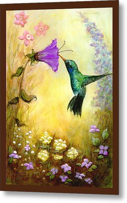 Metal Print featuring the mixed media Garden Guest In Brown by Terry Webb Harshman
