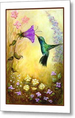 Metal Print featuring the mixed media Garden Guest by Terry Webb Harshman