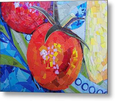 Garden Harvest Collage Detail Metal Print by Shawna Rowe