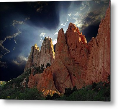 Garden Megaliths With Dramatic Sky Metal Print