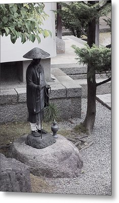 Zen Temple Garden Monk - Kyoto Japan Metal Print by Daniel Hagerman