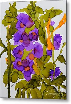 Garden Of Hollyhocks Metal Print by Vicki  Housel