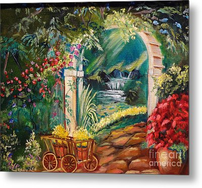 Metal Print featuring the painting Garden Of Serenity Beyond by Jenny Lee