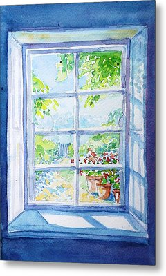 Garden Path Through A Summer Window  Metal Print