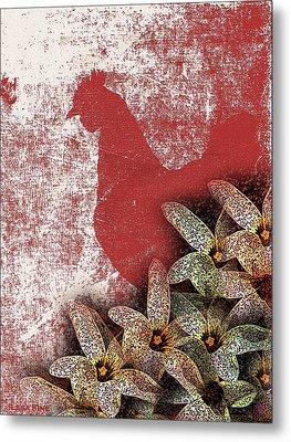 Garden Rooster Metal Print
