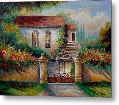 Garden Scene With Villa And Gate Metal Print by Regina Femrite