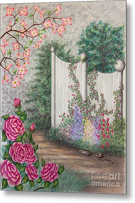 Garden Walkway Metal Print by Lena Auxier