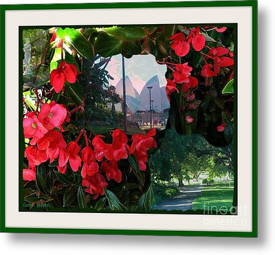 Metal Print featuring the photograph Garden Whispers In A Green Frame by Leanne Seymour