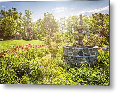 Garden With Stone Fountain Metal Print