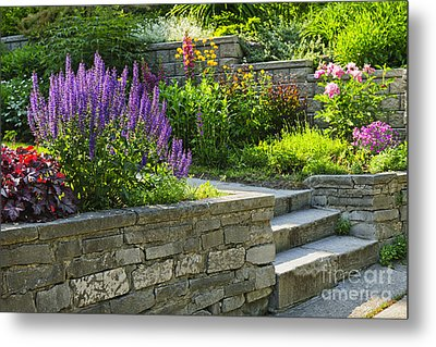 Garden With Stone Landscaping Metal Print by Elena Elisseeva