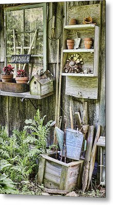 Gardener Corner Metal Print by Heather Applegate