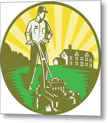 Gardener Mowing Lawn Mower Retro Metal Print by Aloysius Patrimonio