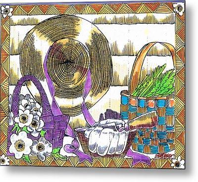 Metal Print featuring the drawing Gardener's Basket by Seth Weaver