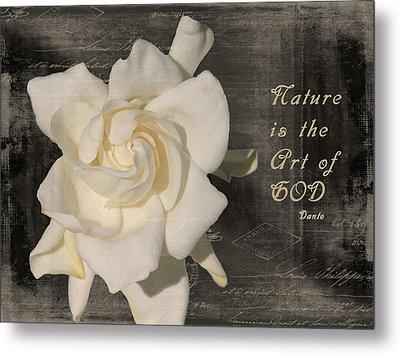 Gardenia And Quote Metal Print by Rosalie Scanlon