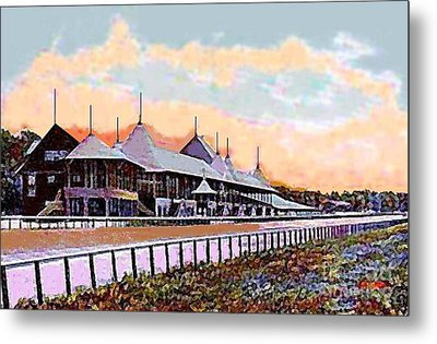 Gardens And Grandstand At Saratoga Racetrack In 1908 Metal Print