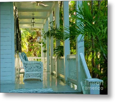 Gardens Porch In Key West Metal Print by David  Van Hulst