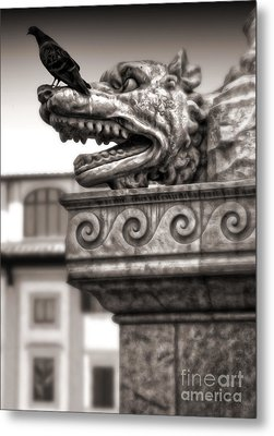 Gargoyle And Pidgeon - Sepia Metal Print by Gregory Dyer