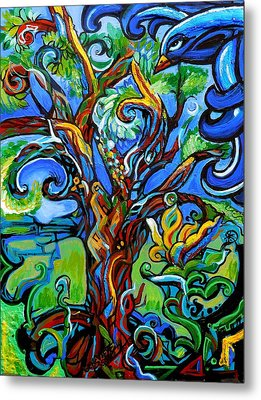 Gargoyle Tree With Crow Metal Print by Genevieve Esson
